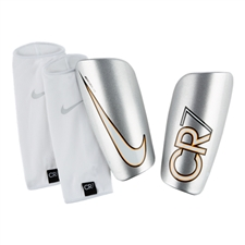 Nike CR7 Mercurial Lite Soccer Shinguards (Silver/White)