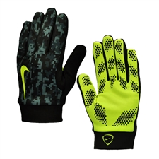 Nike Hyperwarm Field Player Soccer Gloves (Black/Volt)