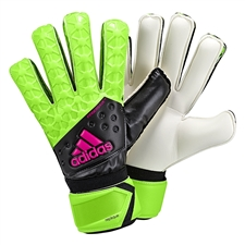 Adidas ACE Fingersave Replique Soccer GK Gloves (Solar Green/Black/Shock Pink)