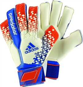 Adidas Predator Fingersave Ultimate Soccer Gloves (White/Blue/Orange)