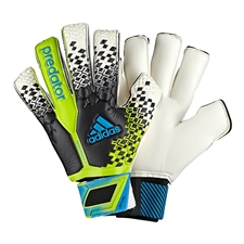 Adidas Predator Fingersave Ultimate Soccer Gloves (Black/White/Solar Slime/Solar Blue)