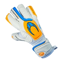 HO Soccer Moebus Protek Flat Soccer Goalkeeper Gloves (White/Blue/Orange)