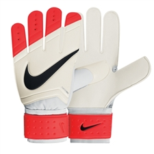 Nike Sentry Soccer Goalkeeper Gloves (White/Total Crimson/Black)