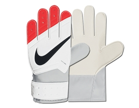Nike Junior Grip Goalkeeper Gloves (White/Total Crimson/Black)