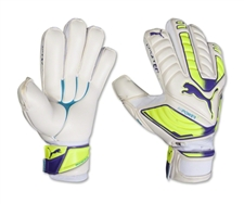 Puma evoPOWER Protect 1 Soccer Gloves (White/Fluro Yellow/Prism Violet)