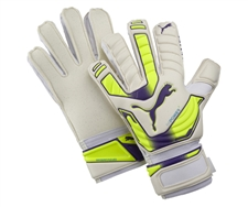 Puma evoPOWER Protect 2 Regular Cut Soccer Gloves (White/Fluro Yellow/Prism Violet)