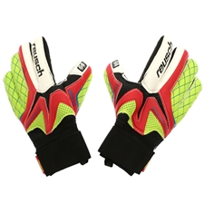 Reusch Waorani Elite SG Finger Support Soccer Goalkeeper Gloves (Fire Red/Lime Punch)