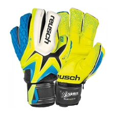 Reusch Waorani Deluxe G2 LTD Ortho-Tec Soccer Goalkeeper Gloves (Safety Yellow/Ocean Blue/Safety Yellow)