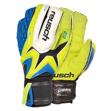 Reusch Waorani Deluxe G2 LTD Soccer Goalkeeper Gloves (Safety Yellow/Ocean Blue/Safety Yellow)
