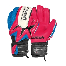 Reusch Waorani Pro S1 Ortho-Tec Youth Soccer Goalkeeper Gloves (Diva Pink/Ocean Blue/Diva Pink)