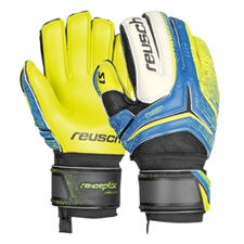 Reusch RE:CEPTOR Prime S1 Finger Support Youth Soccer Goalkeeper Gloves (Ocean Blue/Safety Yellow)