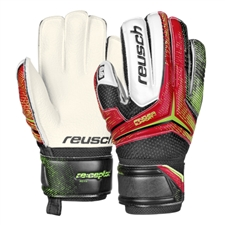 Reusch RE:CEPTOR RG Finger Support Youth Soccer Goalkeeper Gloves (Fire Red/Black/White)