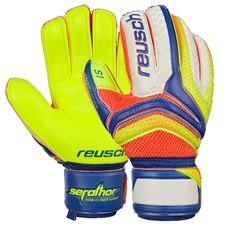 Reusch Serathor Prime S1 Finger Support GK Gloves (Dazzling Blue/Safety Yellow/Shocking Orange)