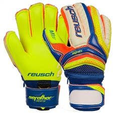 Reusch Junior Serathor Pro M1 GK Gloves (Dazzling Blue/Safety Yellow)