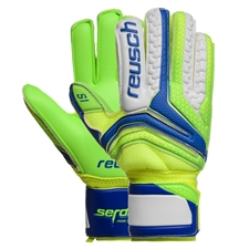 Reusch Junior Serathor Prime S1 Finger Support GK Gloves (Electric Blue/Green Gecko)