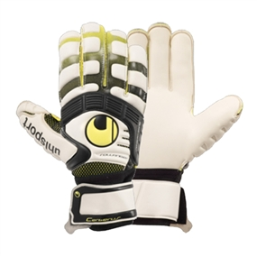 Uhlsport Cerberus AbsolutGrip Absolutroll Soccer Gloves (White/Flor Yellow/Black)