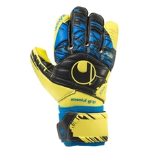 Uhlsport Eliminator Absolutgrip HN Goalkeeper Gloves (Fluorescent Yellow/Black/Hydro Blue)
