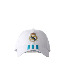 Adidas Real Madrid Home 3-Stripes Hat (White/Vivid Teal)