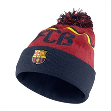 Nike FC Barcelona Soccer Beanie (Storm Red/Midnight Navy/Vibrant Yellow)