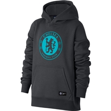 Nike Youth Chelsea Crest Hoodie (Anthracite/Omega Blue)