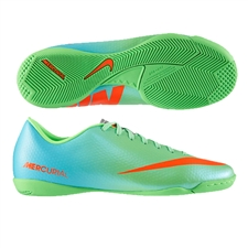Nike Mercurial Victory IV Indoor Soccer Shoes (Neo Lime/Metallic Silver/Polarized Blue/Total Crimson)
