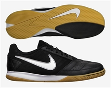 Nike FC247 Gato II Leather Indoor Soccer Shoes (Black/White/Metallic Silver)