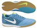 Nike FC247 Gato II Leather Indoor Soccer Shoes (Current Blue/Metallic Silver/Hot Lime/White)