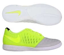 Nike FC247 Lunar Gato II Indoor Soccer Shoes (Neutral Grey/Volt/White)