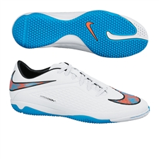 Nike Hypervenom Phelon IC Indoor Soccer Shoes (White/Total Crimson/Blue Lagoon)