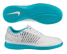 Nike FC247 Lunar Gato II Reflective Indoor Soccer Shoes (Reflective White/Gamma Blue/Metallic Silver)