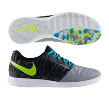 Nike FC247 Lunar Gato II Premium Indoor Soccer Shoes (Wolf Grey/Volt/Dark Grey)
