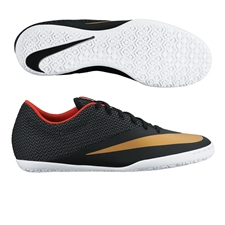 Nike MercurialX Pro IC Indoor Soccer Shoes (Black/Challenge Red/White/Metallic Gold)