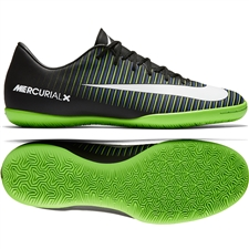 Nike Mercurial Victory VI IC Indoor Soccer Shoes (Black/White/Electric Green)