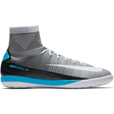 Nike MercurialX Proximo II DF IC Indoor Soccer Shoes (Wolf Grey/White/Pure Platinum/Laser Blue)