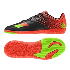 Adidas Messi 15.3 Youth Indoor Soccer Shoes (Black/Solar Green/Solar Red)