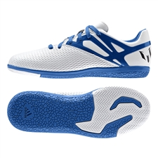 Adidas Messi 15.3 Youth Indoor Soccer Shoes (White/Prime Blue/Black)