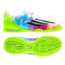 Adidas Messi F10 Youth Indoor Soccer Shoes (White/Black/Solar Slime)