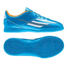 Adidas F5 Youth Indoor Soccer Shoes (Solar Blue/Running White/Solar Zest)