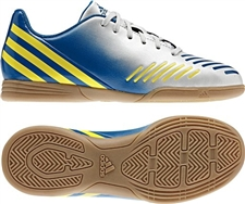 Adidas Predito LZ Youth Indoor Soccer Shoes (Running White/Vivid Yellow/Prime Blue)