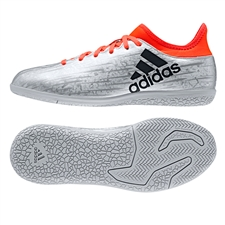 Adidas X 16.3 Youth Indoor Soccer Shoes (Silver Metallic/Core Black/Solar Red)