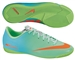 Nike Youth Mercurial Victory IV Indoor Soccer Shoes (Neo Lime/Metallic Silver/Polarized Blue/Total Crimson)