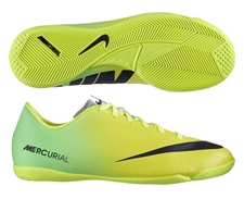 Nike Youth Mercurial Victory IV Indoor Soccer Shoes (Vibrant Yellow/Black/Neo Lime)