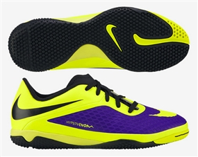 Nike Youth Hypervenom Phelon Indoor Soccer Shoes (Electro Purple/Volt/Black)