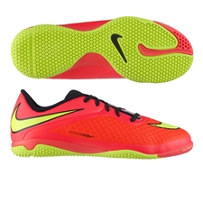 Nike Youth Hypervenom Phelon Indoor Soccer Shoes (Bright Crimson/Volt/Hyper Punch/Black)