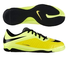 Nike Youth Hypervenom Phelon Indoor Soccer Shoes (Vibrant Yellow/Black/Chrome/Volt Ice)