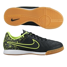 Nike Youth Tiempo Genio IC Indoor Soccer Shoes (Black/Volt)