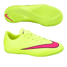 Nike Youth Mercurial Victory V Indoor Soccer Shoes (Volt/Black/Hyper Pink)