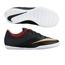 Nike Youth MercurialX Pro Indoor Soccer Shoes (Black/Challenge Red/White/Metallic Gold)
