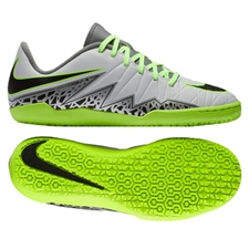 Nike Hypervenom Phelon II Youth Indoor Soccer Shoes (Pure Platinum/Black/Ghost Green)