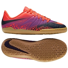 Nike Youth Hypervenom Phelon II Indoor Soccer Shoes (Total Crimson/Obsidian/Vivid Purple)